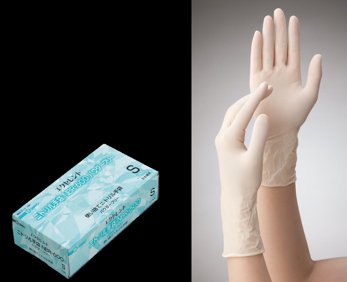 エクセレントニトリル手袋NBR-600パウダーフリー