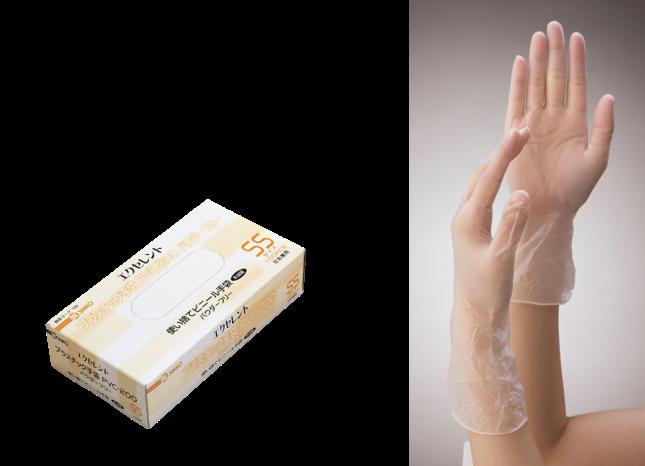 エクセレントプラスチック手袋PVC-200パウダーフリー